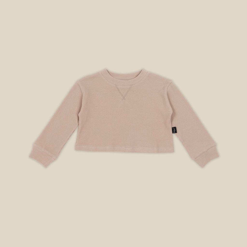 Biscuit Waffle Cropped Sweater
