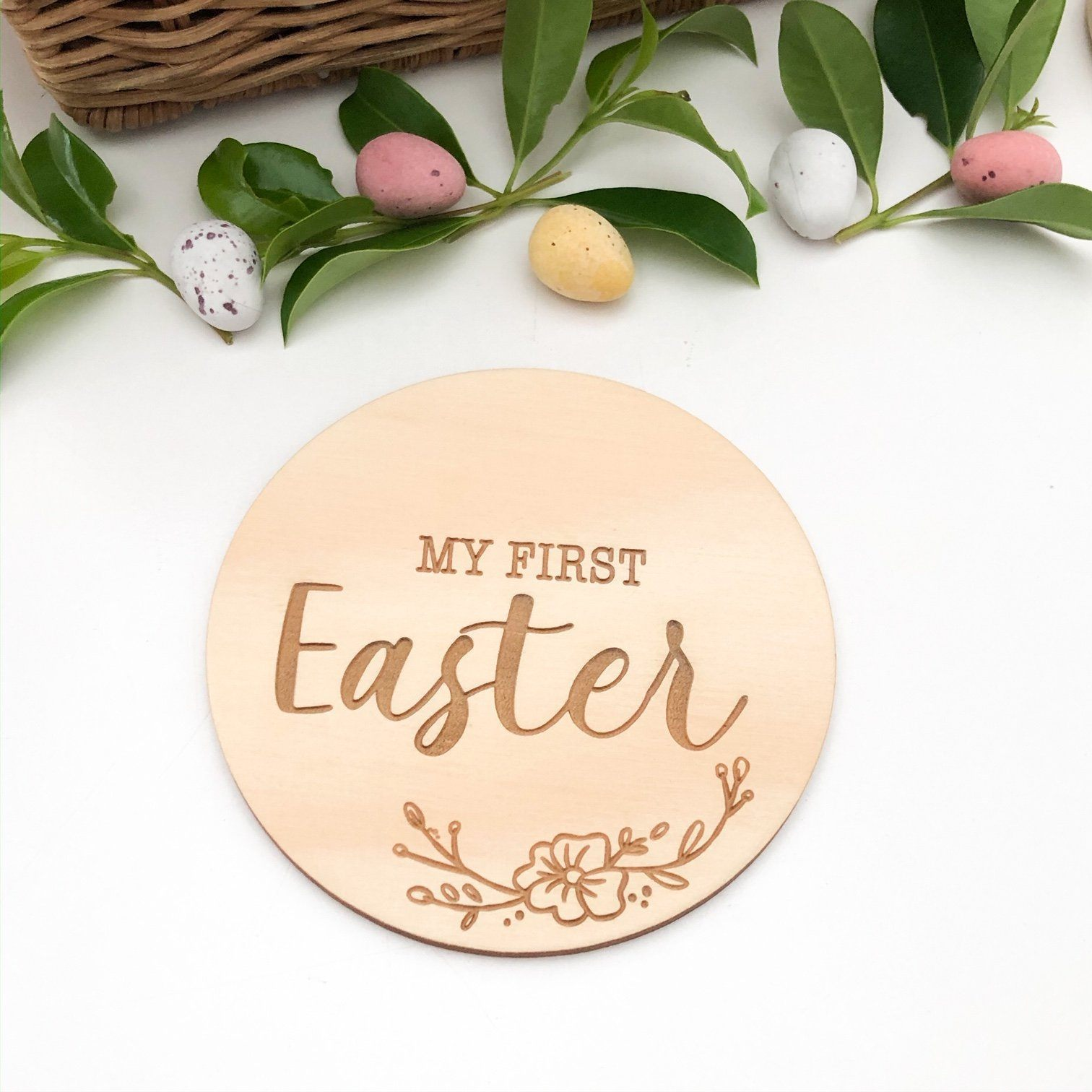 First Easter Wooden Plaque (Vintage Floral)