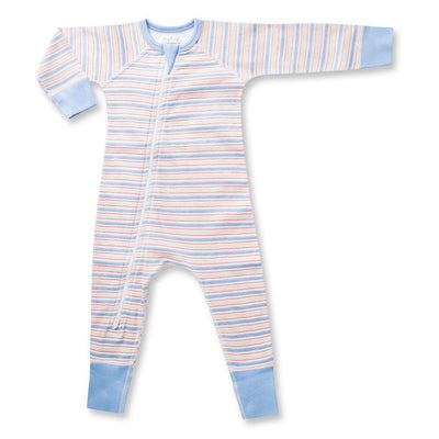 Blue Stripe Zip Romper