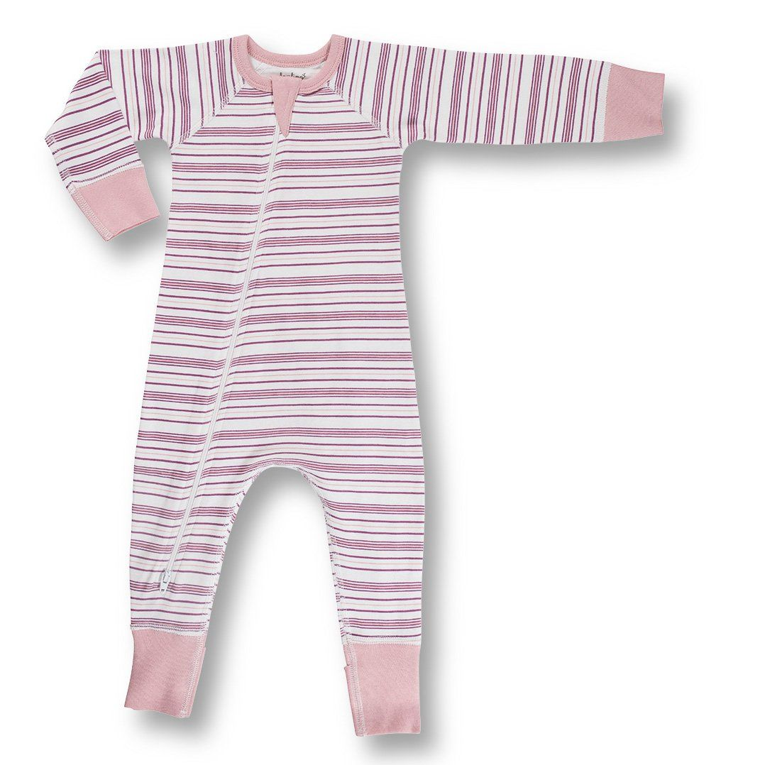 Pink Field Stripe Zip Romper