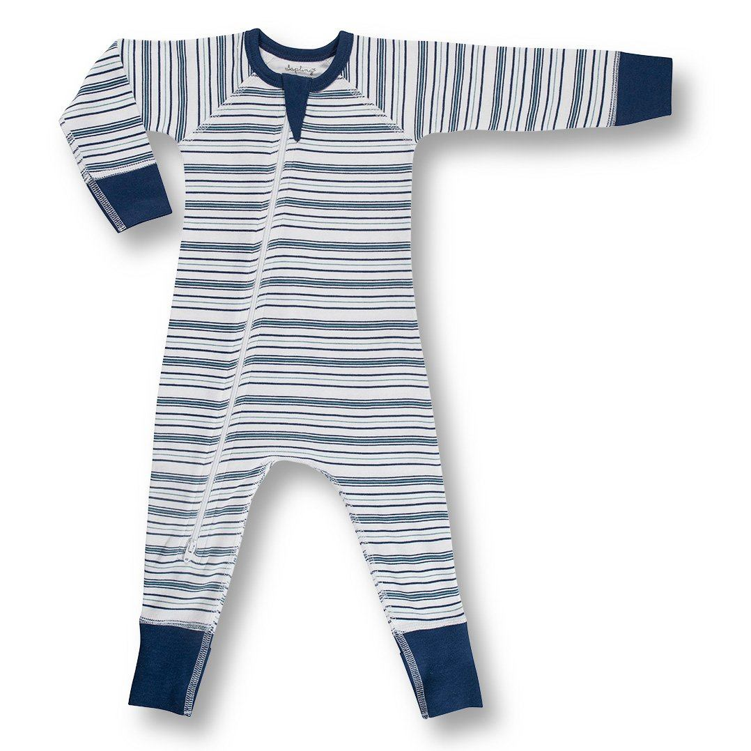 Blue Field Stripe Zip Romper