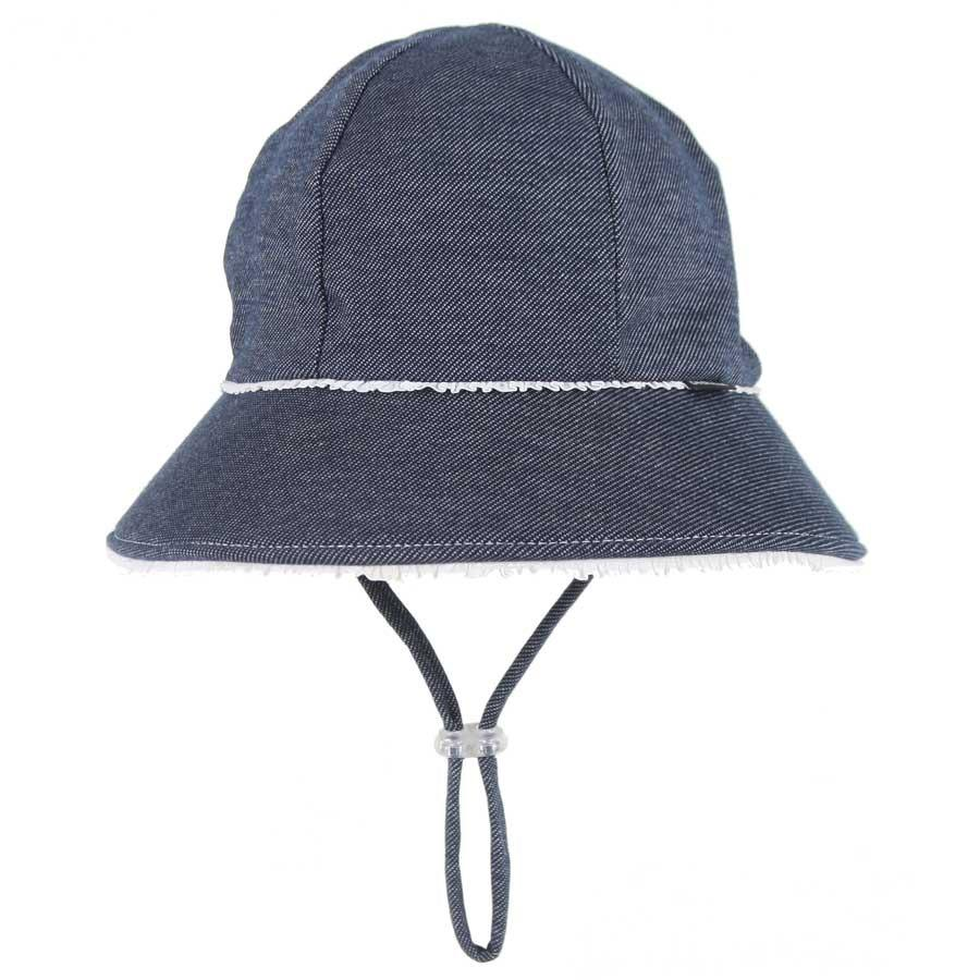 Ponytail Bucket Hat (Denim Ruffle Trim)