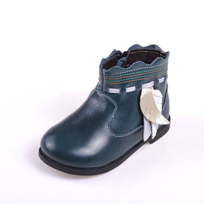Feather Tassel Leather Boots