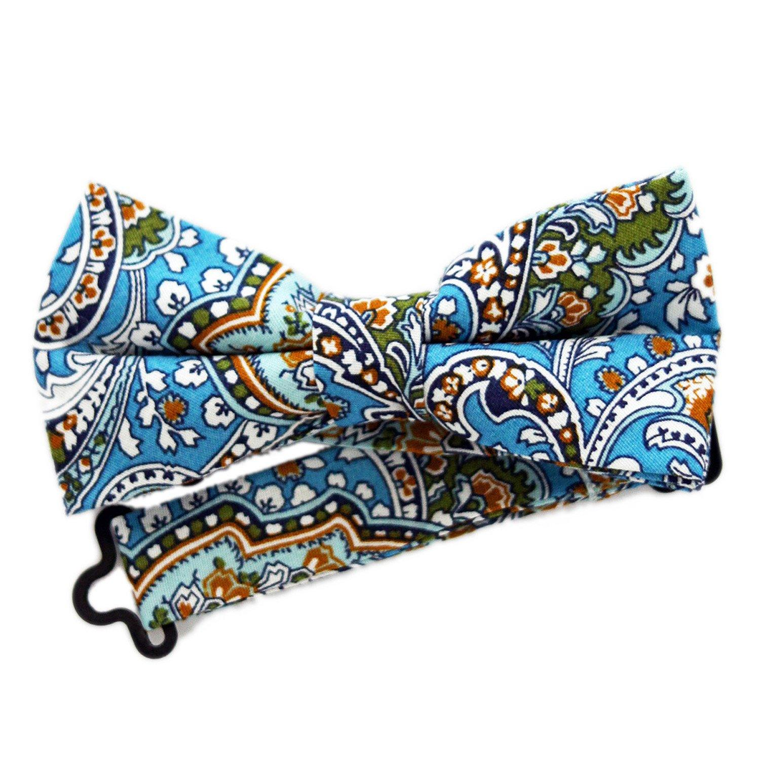 Blue Paisley Bow Tie