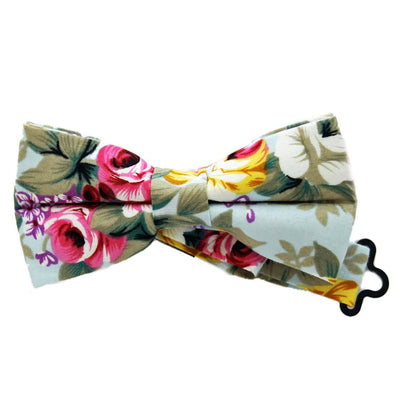 Light Blue Floral Bow Tie