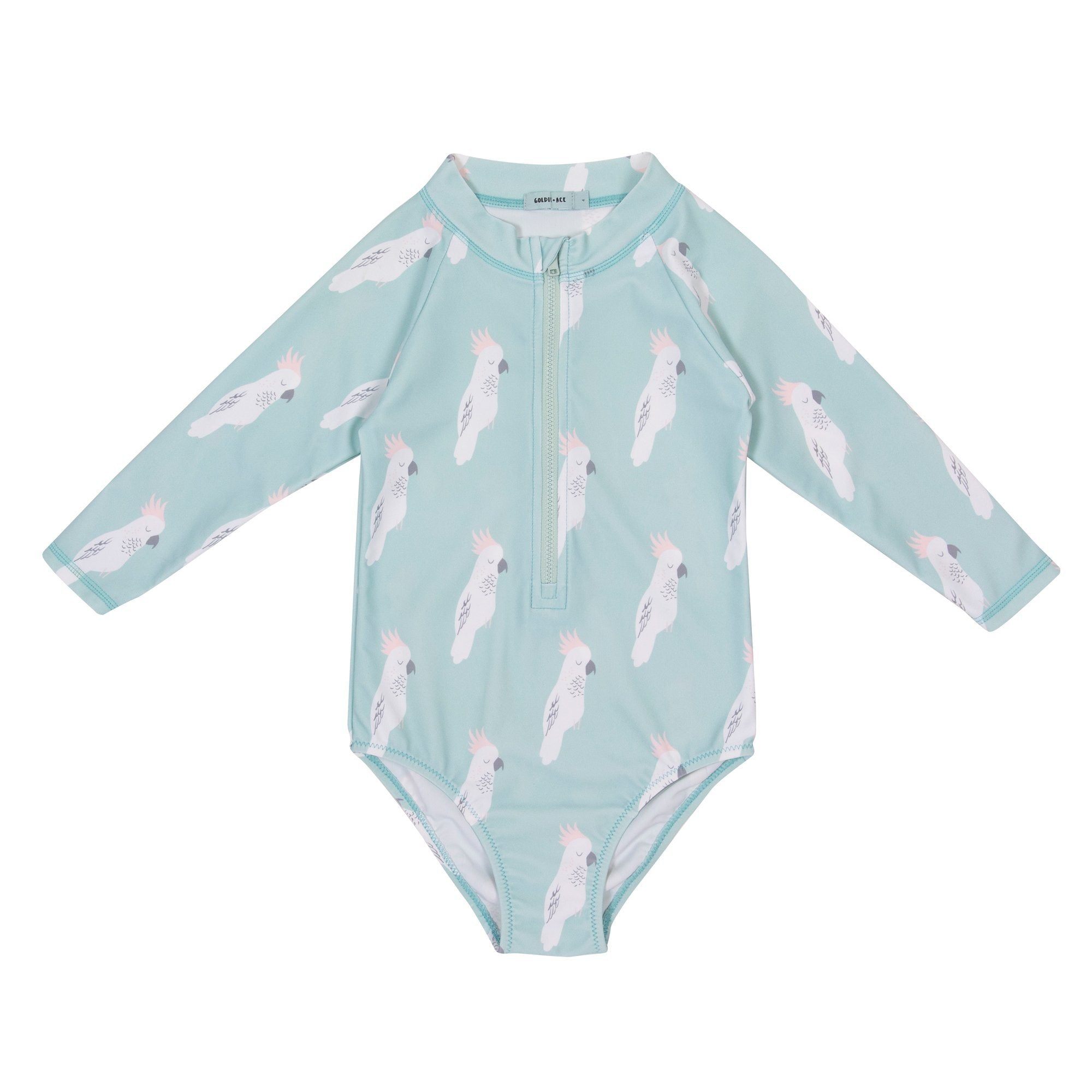 Cockatoo Party Zip Up Sunsuit (Surf Spray)