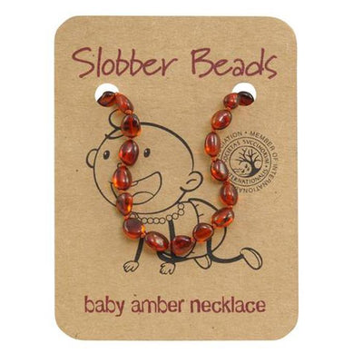 Amber Baby Teething Necklace (Cognac Oval)