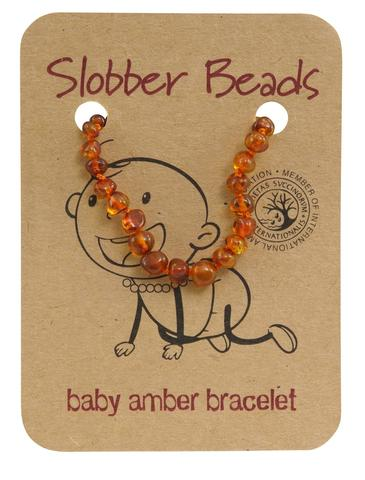 Amber Toddler Teething Bracelet (Cognac Round)
