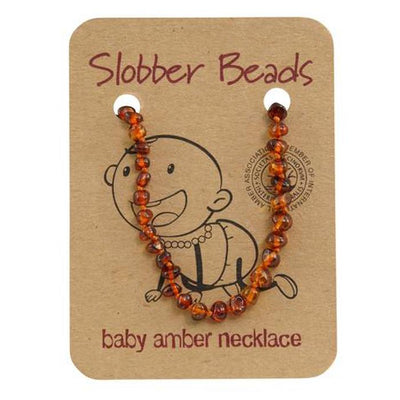 Amber Baby Teething Necklace (Cognac Round)