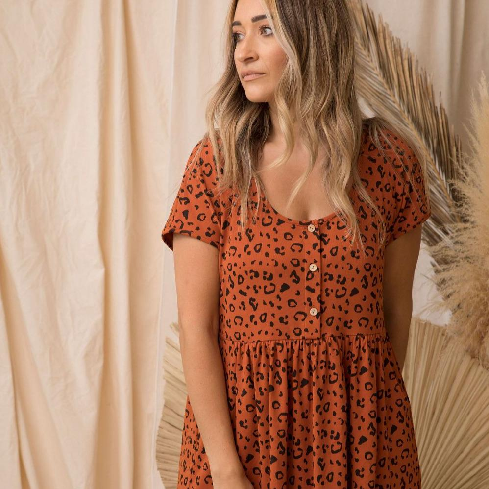 Rust Cheetah Womens Dress
