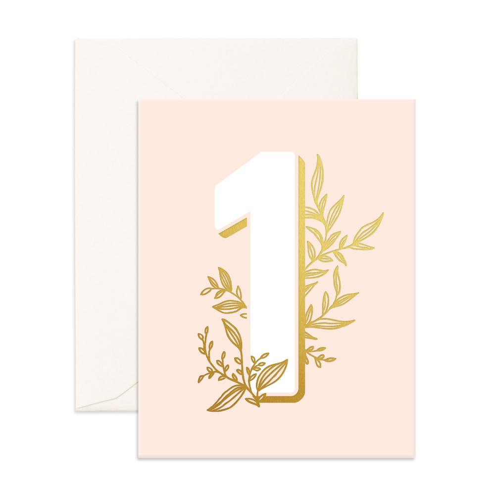 Number 1 Floral Greeting Card