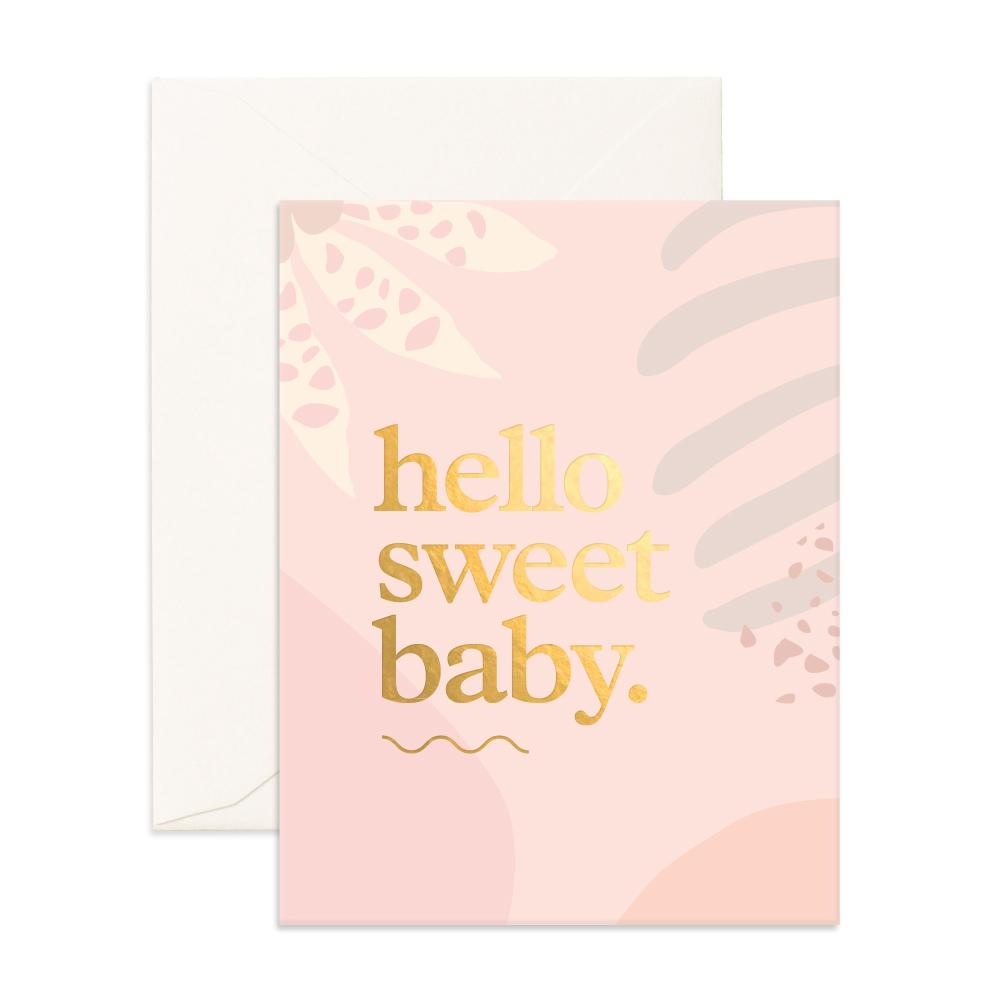 Hello Sweet Baby Greeting Card (Pink)