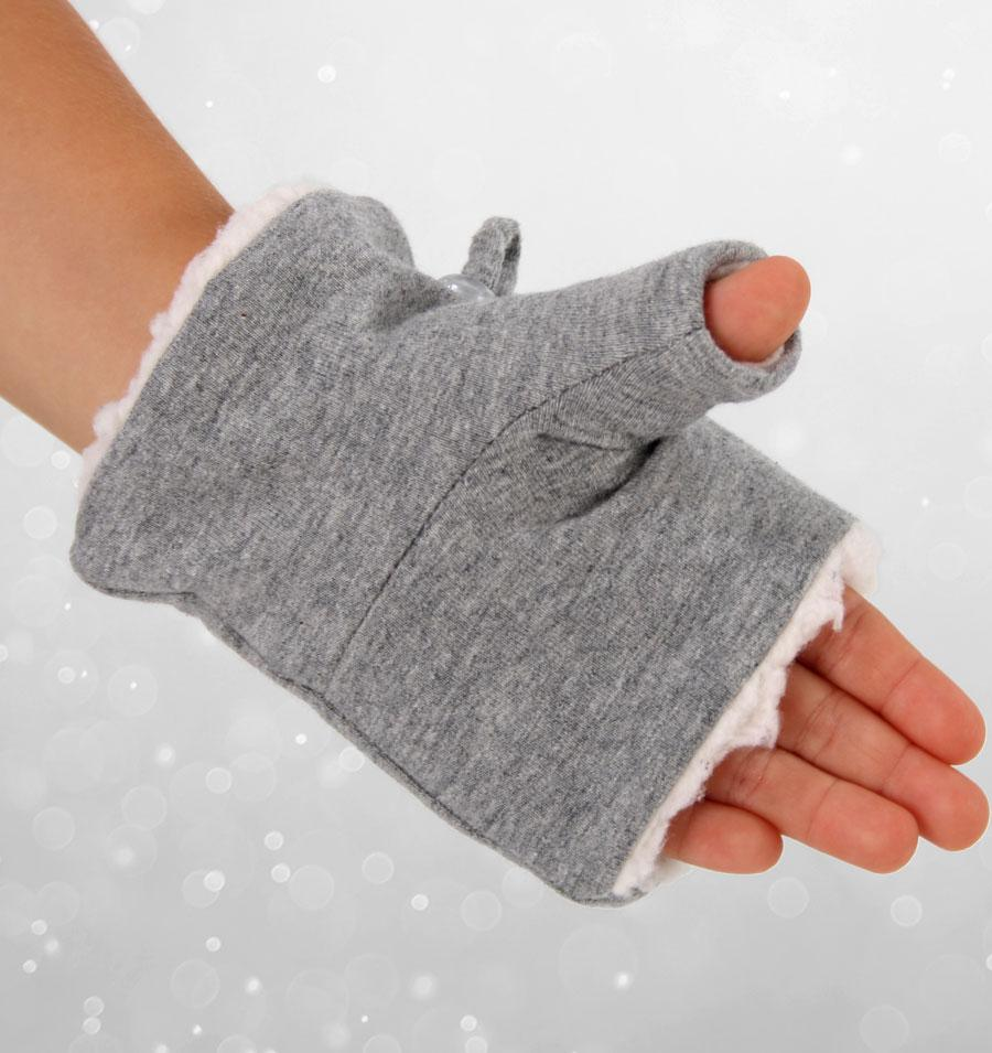 Fleecy Fingerless Mittens (Grey Marle)