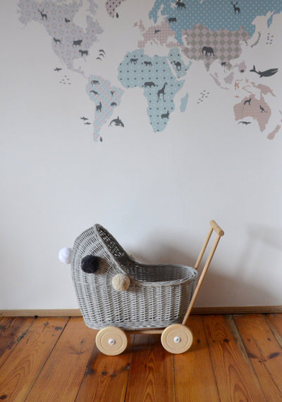 Wicker Pom Pom Dolls Pram (Grey)