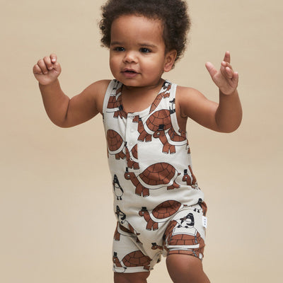 Turtle Tour Sleeveless Romper