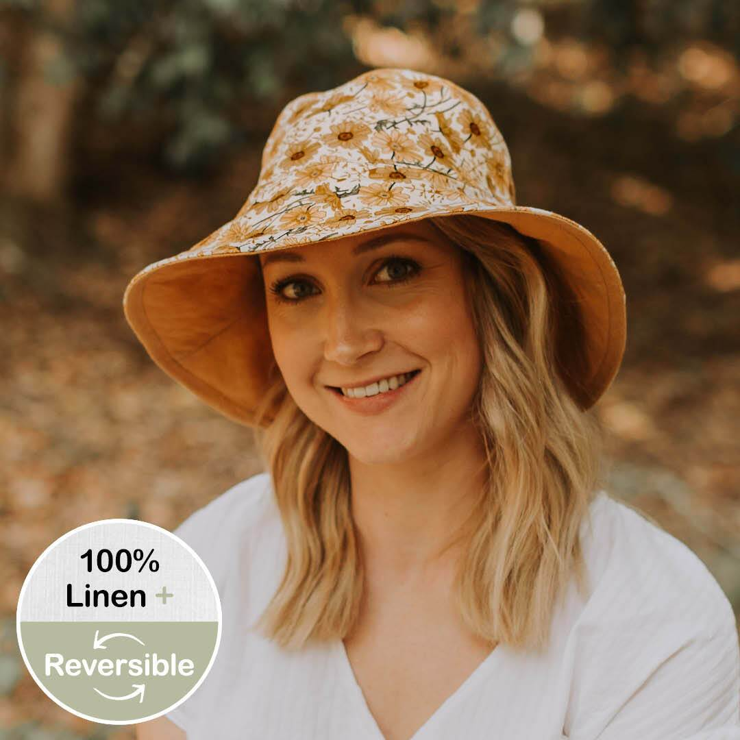 Ladies Reversible Sun Hat (Marguerite/Maize)