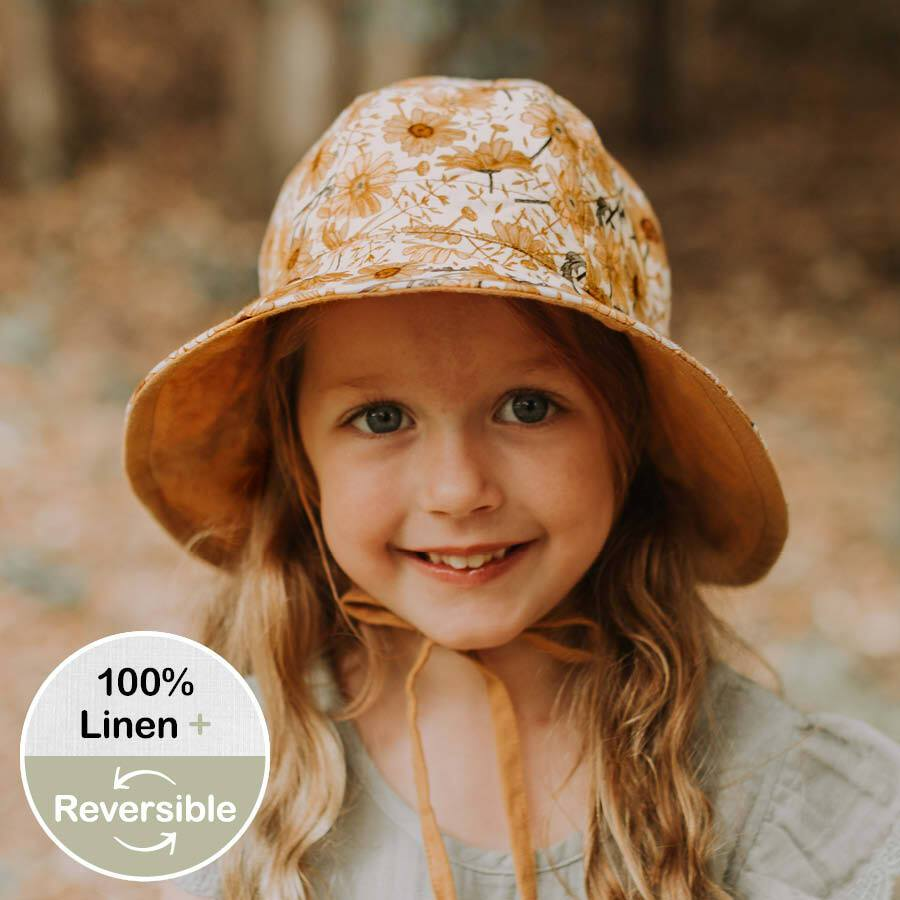 Girls Reversible Sun Hat (Marguerite/Maize)
