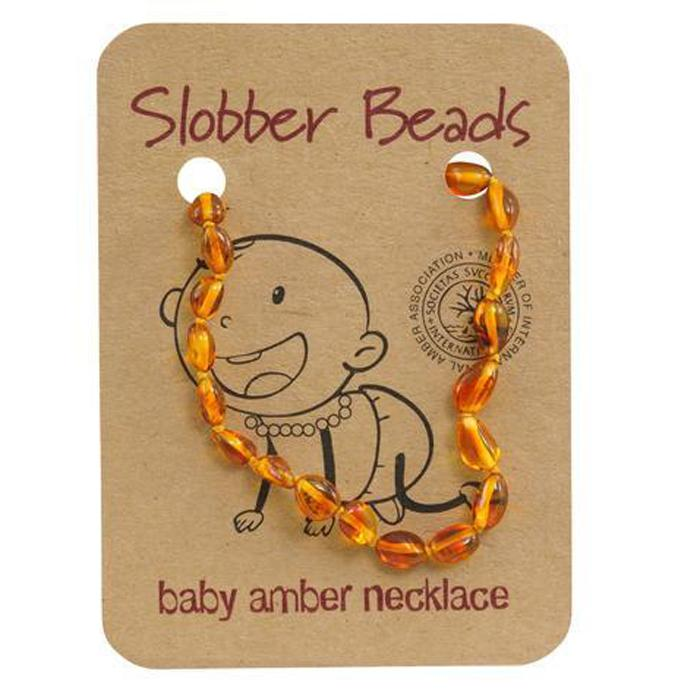 Amber Baby Teething Necklace (Honey Oval)