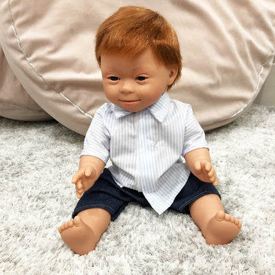 Down Syndrome Baby Boy Doll (Red)