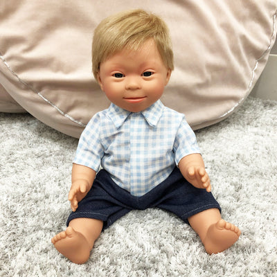 Down Syndrome Baby Boy Doll (Blonde)
