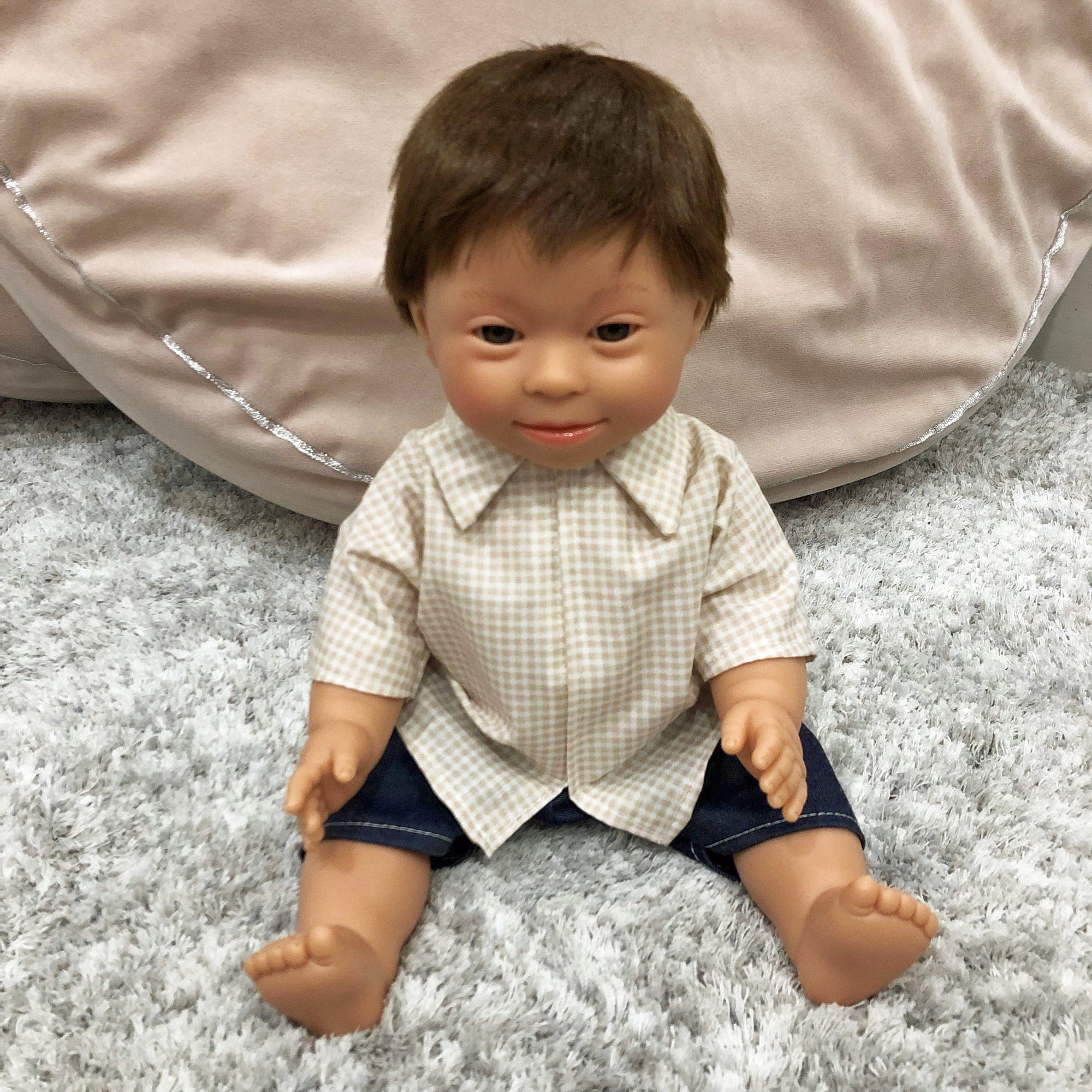 Down Syndrome Baby Boy Doll (Brown)
