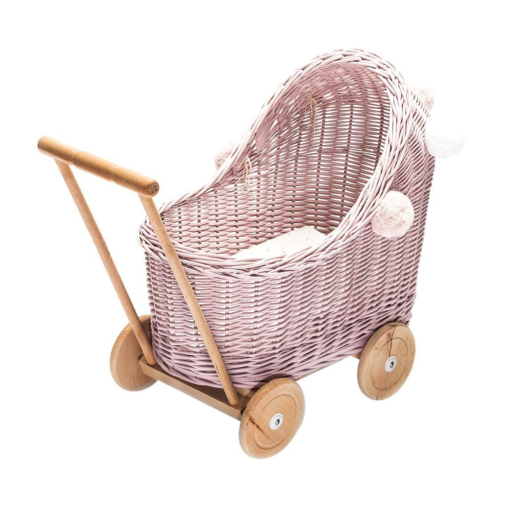 Wicker Pom Pom Dolls Pram (Dusty Pink)