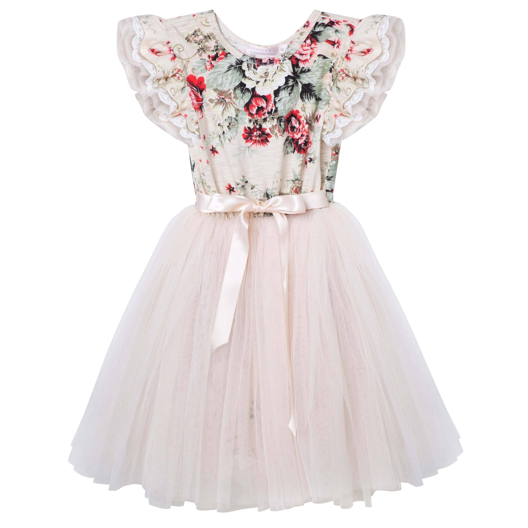 Sadie Floral SS Tutu Dress (Beige)