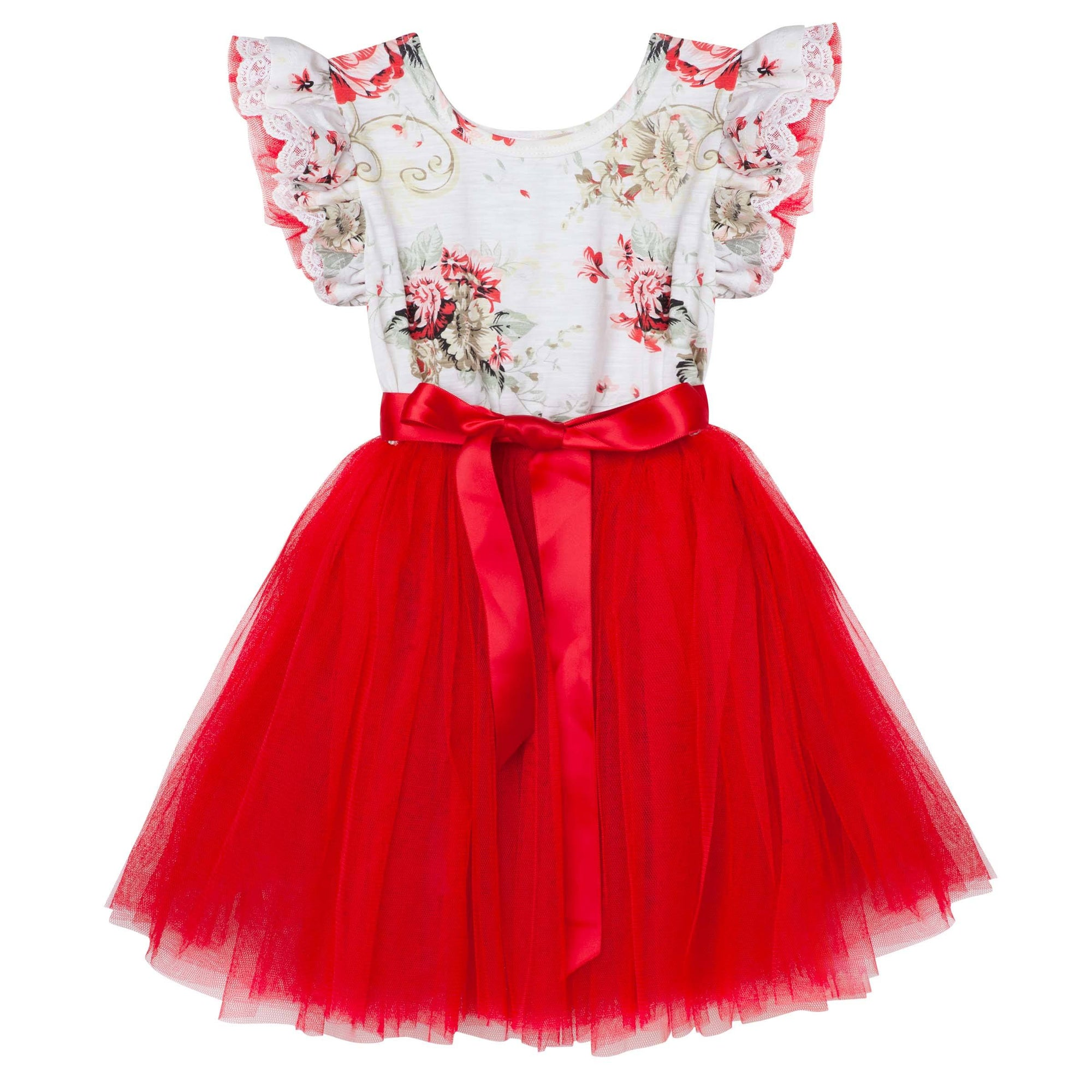 Sadie Floral SS Tutu Dress (Red)