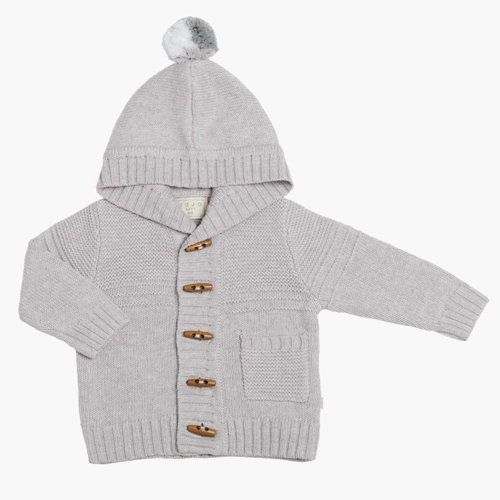 Purl Yoke Hooded Jacket (Silver)