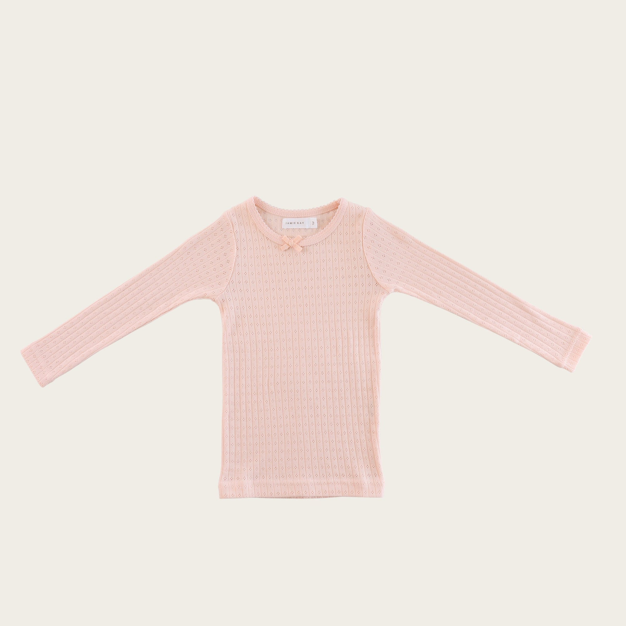 Pointelle Lace Top (Peach)