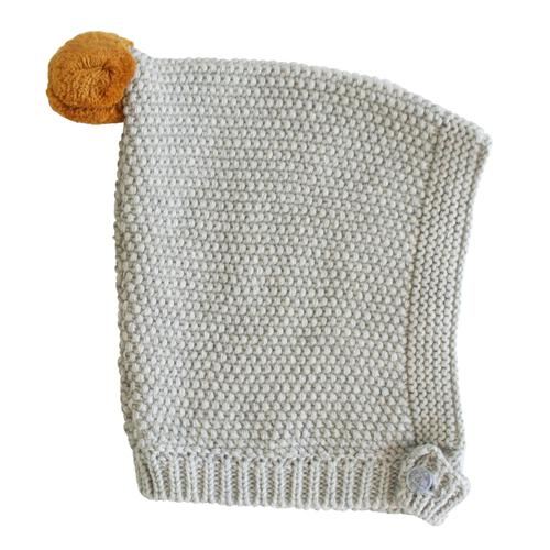 Pom Pom Pixie Hat (Grey & Butterscotch)