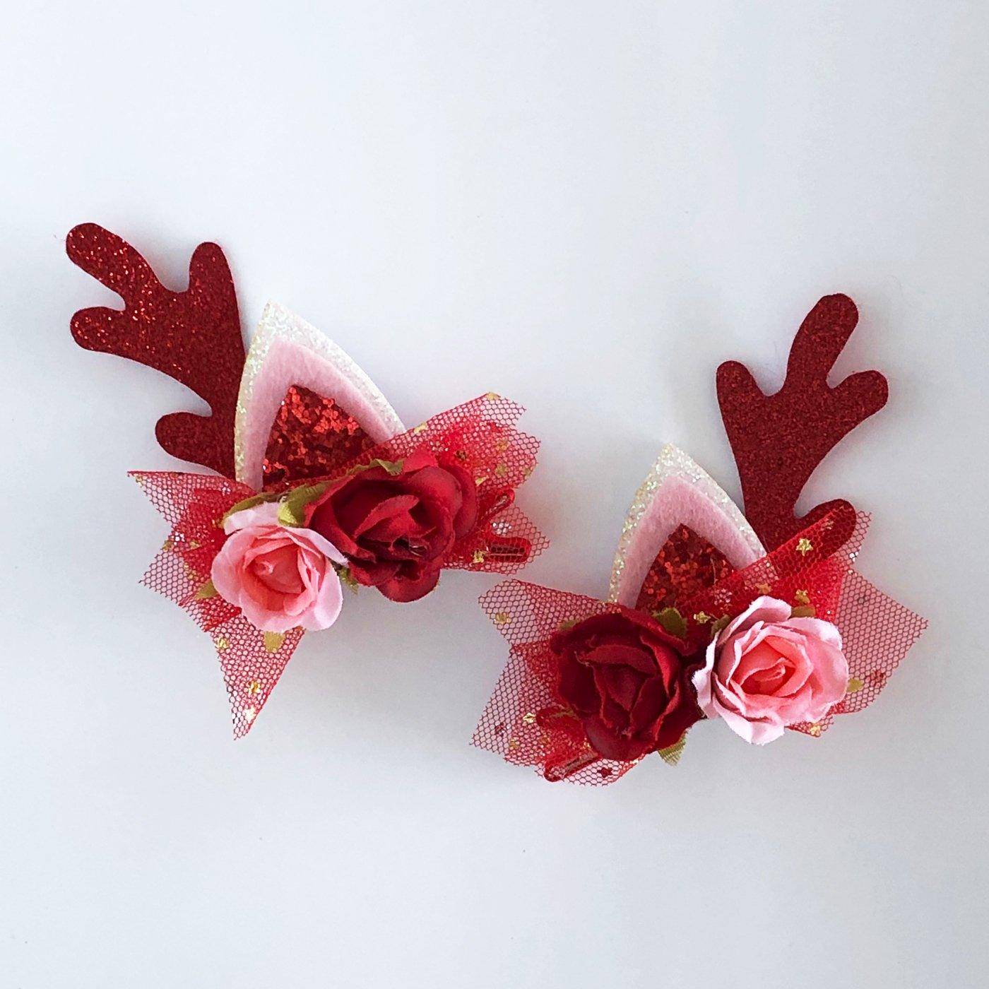 Floral Reindeer Clip Set (Red)