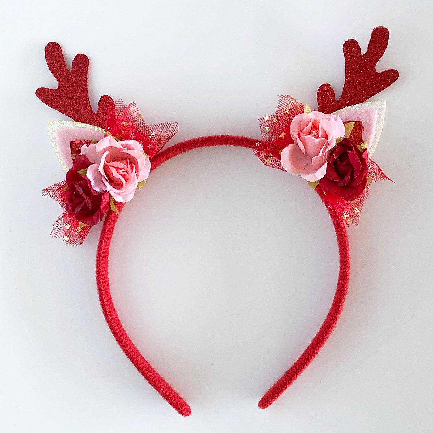 Floral Reindeer Headband (Red)