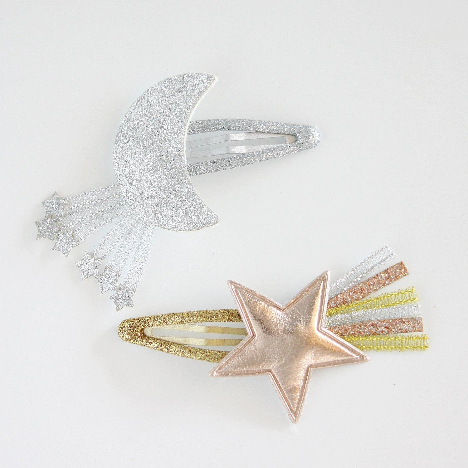 Star & Moon Hair Snap Clip Set