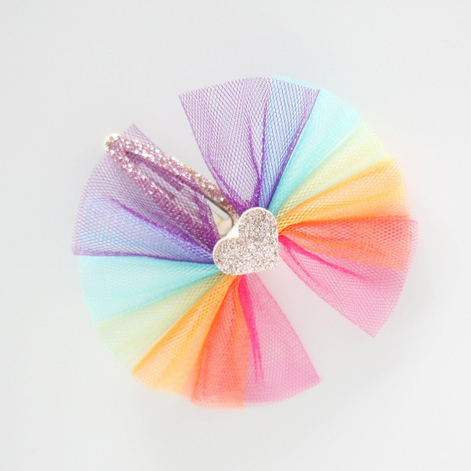 Rainbow Heart Tulle Hair Clip