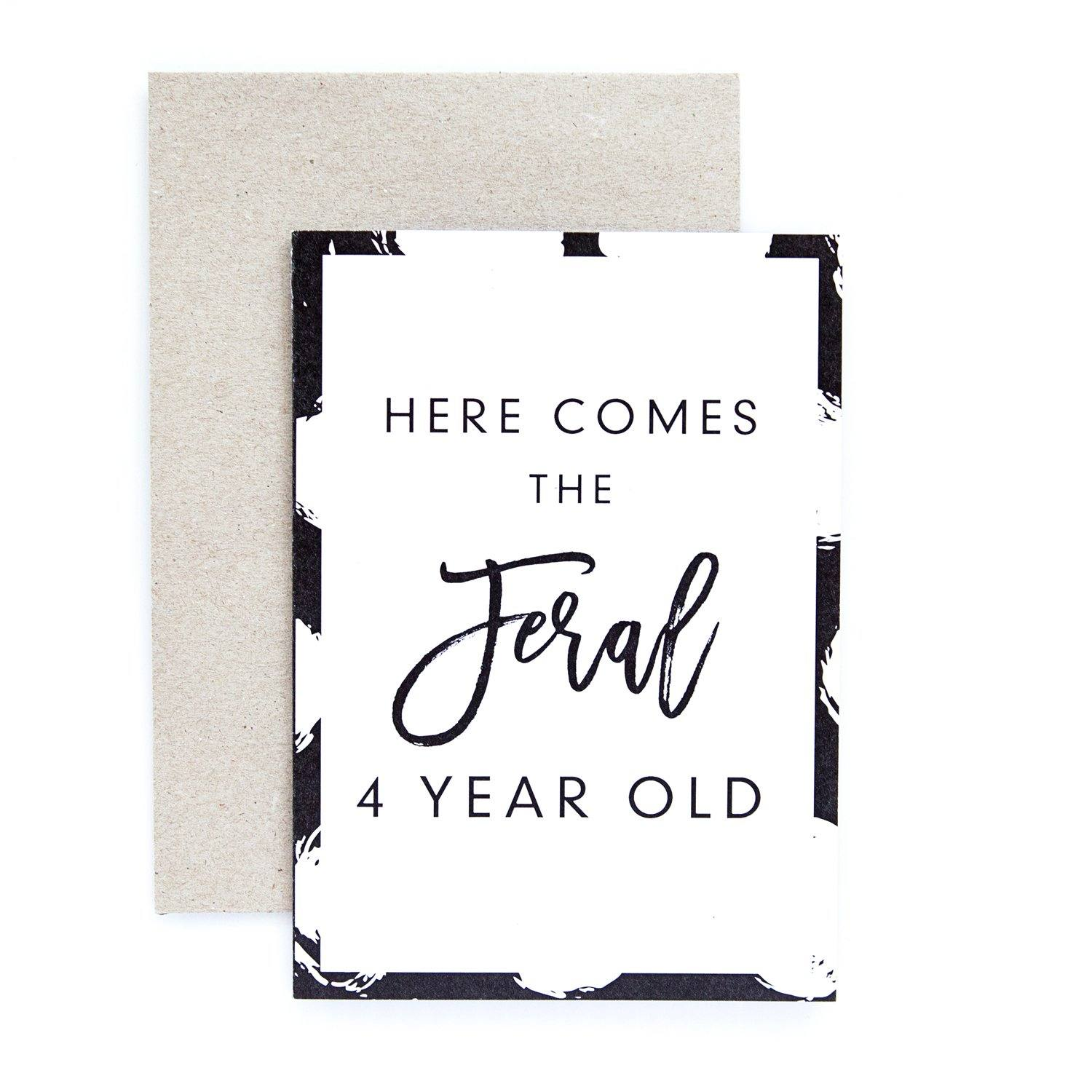 Feral 4 Year Old Greeting Card