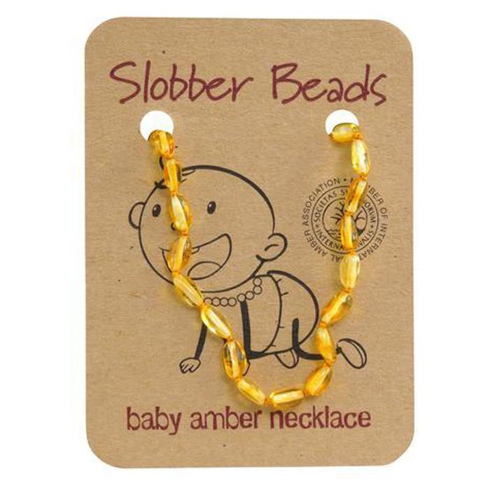 Amber Baby Teething Necklace (Lemon Oval)