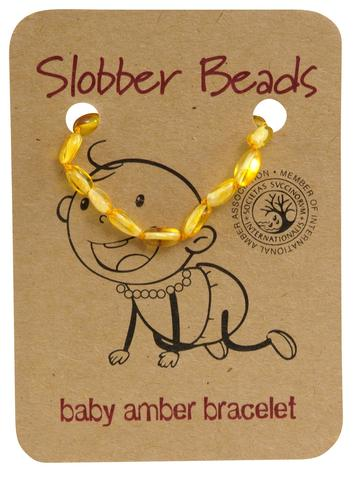 Amber Baby Teething Bracelet (Lemon Oval)