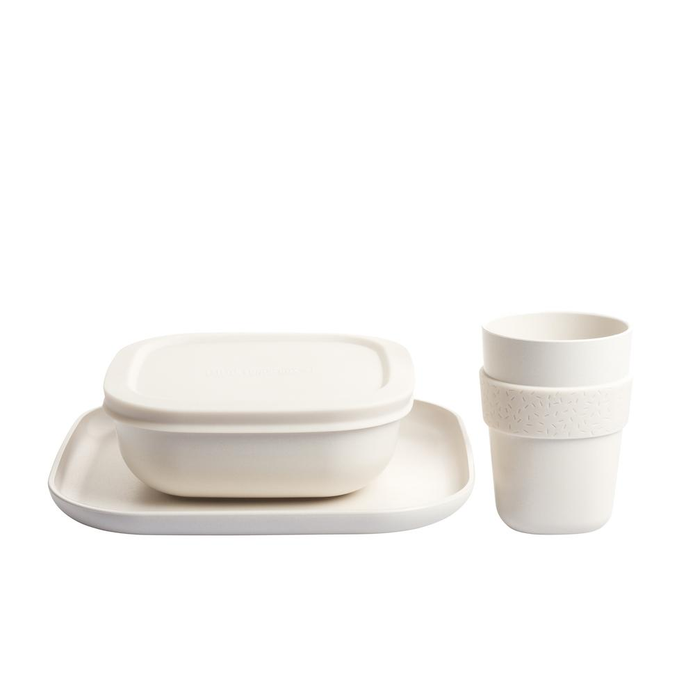 Bamboo Dinner Set (Natural White)