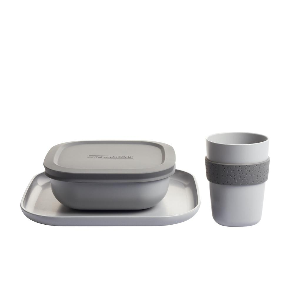 Bamboo Dinner Set (Stone Grey)