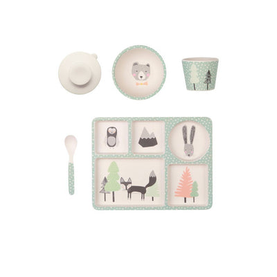 Fox and Friends 5 Piece Bamboo Dinner Set