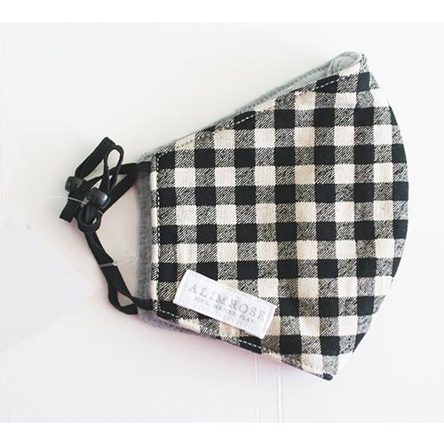 Face Mask (Black Linen Check)