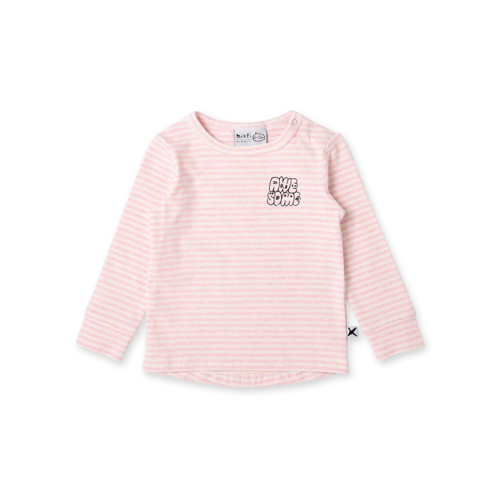 Awesome Baby Tee (Pink Stripe)
