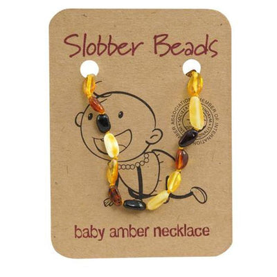 Amber Baby Teething Necklace (Multi Oval)