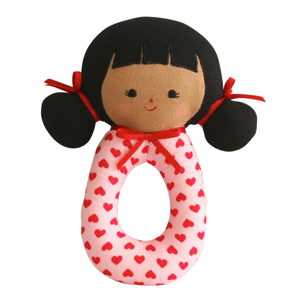Audrey Grab Rattle (Pink Hearts)