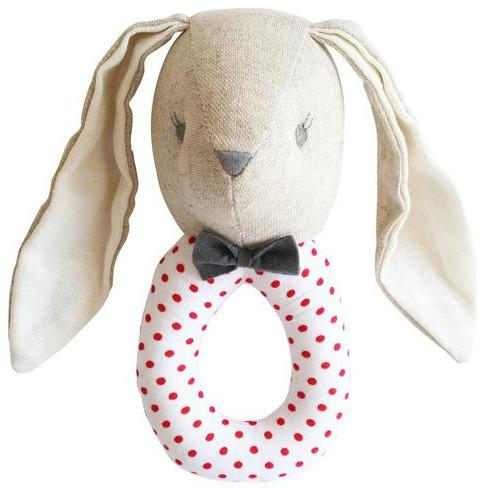 Linen Louie Grab Rattle (Grey/Red)