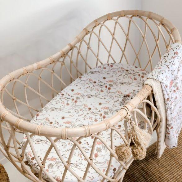 Wild Meadow (Pink Petals) Jersey Bassinet Sheet