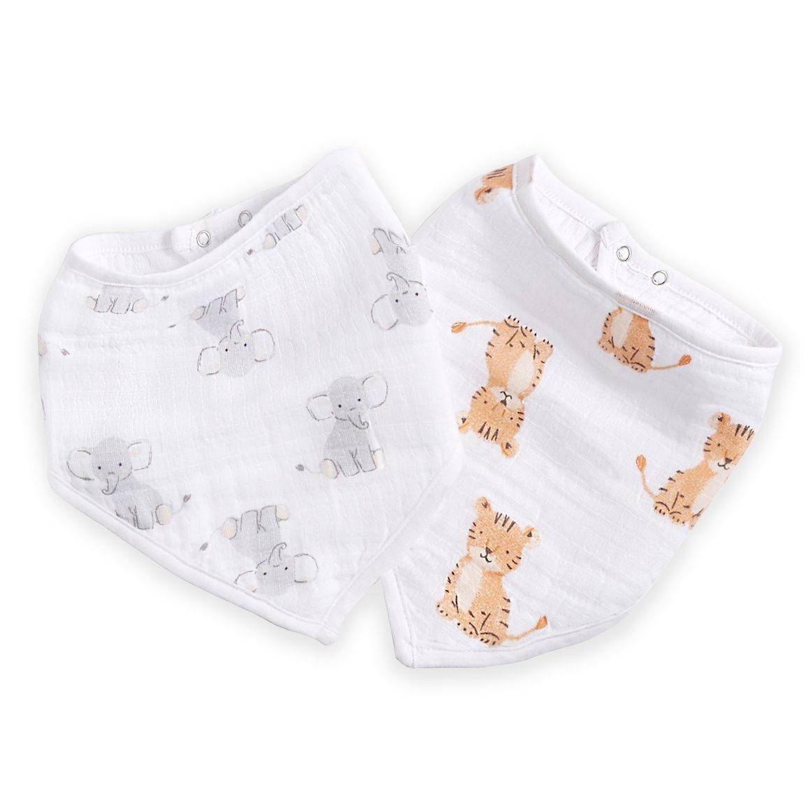 Safari Elephant & Tiger Bandana Bib (2 Pack)