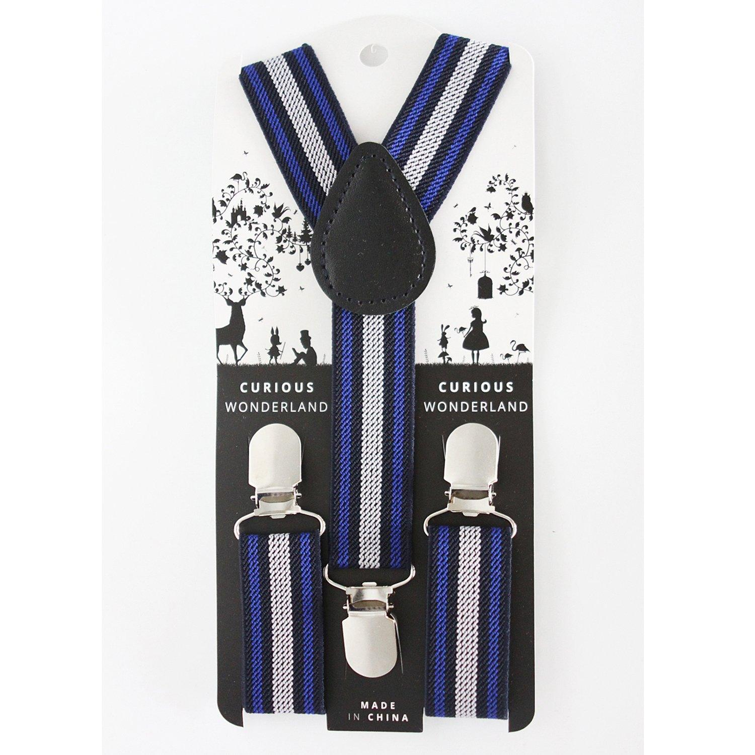 Striped Suspenders (Black/Blue/Grey)