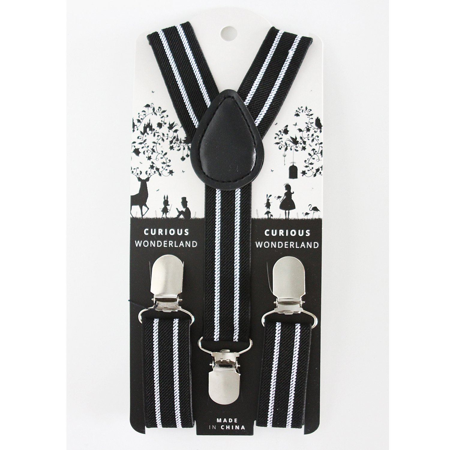 Striped Suspenders (Black/White)